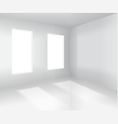Empty white room interior vector