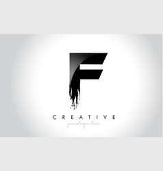 F letter design with brush stroke and modern 3d vector