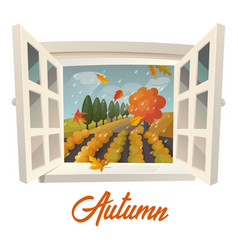 Farm or garden during rain at autumn season vector