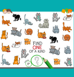 Find one of a kind picture with cat character vector