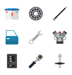 flat icon service set of muffler brake disk vector image
