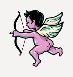 Flying bacupid angel with bow and wings vector