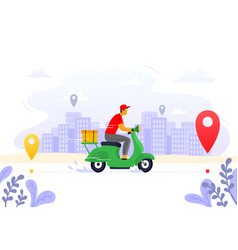 Food delivery express courier supply carrier on vector