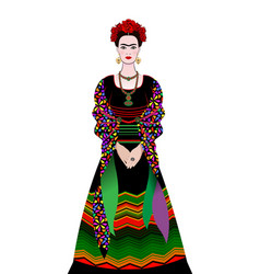 Frida kahlo portrait young mexican vector