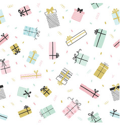gift boxes pattern in hand drawn doodle vector image