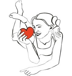 Girl with heart in black 02 vector image