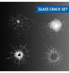 Glass Crack Images Set vector image