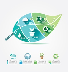 Green Leaves Design Elements Ecology Infographic vector