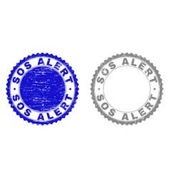 grunge sos alert scratched stamps vector image