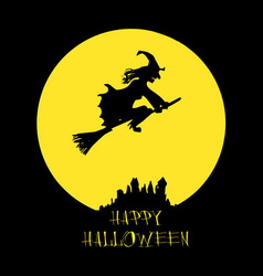 Halloween card poster with witch on full moon vector