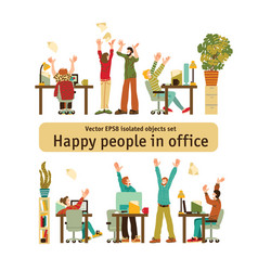 happy office caucasian white people rejoices vector image
