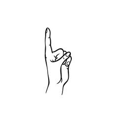 Human hand with index finger up gesture in sketch vector