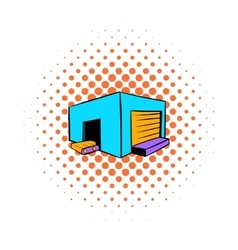 Industrial warehouse icon comics style vector