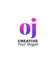 Initial letter oj lowercase design logo template vector