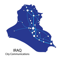 Iraq map city communications vector