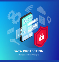 isometric internet security phone gradient banner vector image