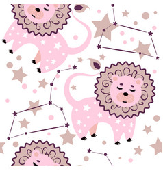 lion constellation pattern vector image
