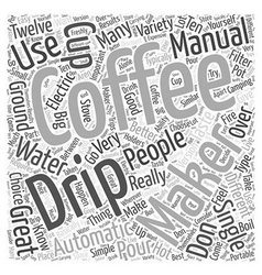 Manual Drip Coffee Makers Word Cloud Concept vector