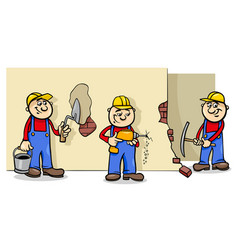 Manual workers or builders characters group vector