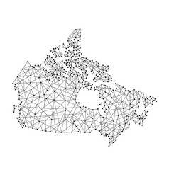 Map of canada from polygonal black lines vector