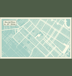 Mar del plata argentina city map in retro style vector
