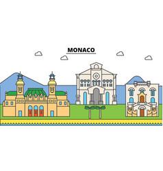 Monaco mediterranean sea city skyline vector
