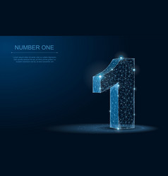 number one 3d abstract polygonal blueprint vector image