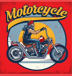 old biker riding vector image