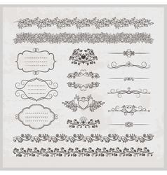 Page decoration borders frames and hearts vector image