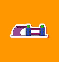 Paper sticker on stylish background tsunami city vector