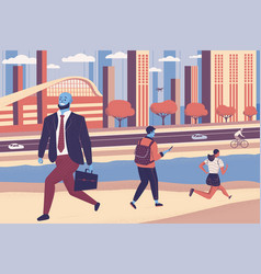 People walking on street with cityscape vector