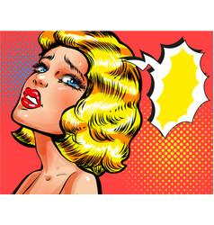 pop art of sad thinking woman vector image