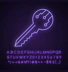 Private digital key neon light icon vector