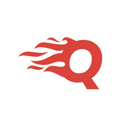 Q letter fire flame hot uppercase logo icon vector