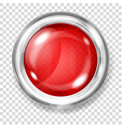 red transparent glass button vector image
