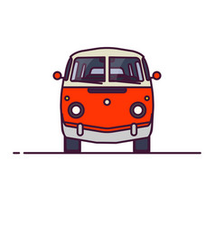 Retro van front view vector