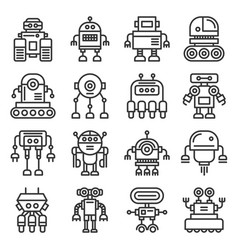 robot icons set on white background line style vector image