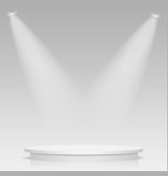 round stage podium illuminated with light stage vector image
