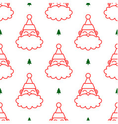 santa claus head white seamless pattern vector image