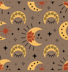 Seamless pattern with magic moon and stars vector
