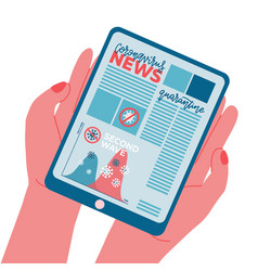 Second wave news banner on tablet pc screen ipad vector
