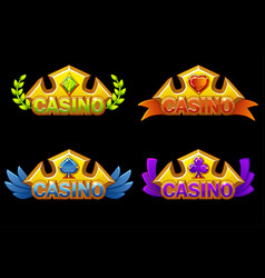 Set casino gold awards with game card icons vector