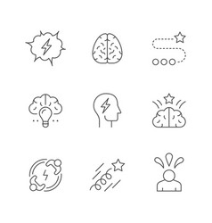 set line icons brainstorming vector image