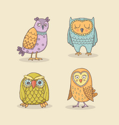 set line owls stylized hand drawing on vector image