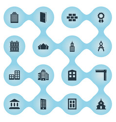 Set of 16 simple architecture icons can be found vector