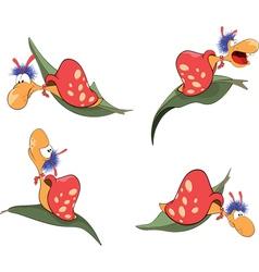 set of cartoon cute snails vector image