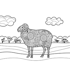 Sheep coloring book for adults vector image