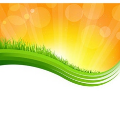 Shiny Background With Green Grass vector image