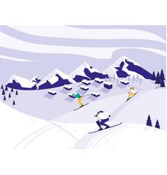 Ski camp snowscape scene vector