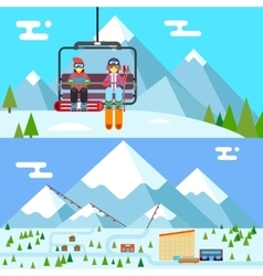 Ski resort holidays skier and snowboarder go up vector image